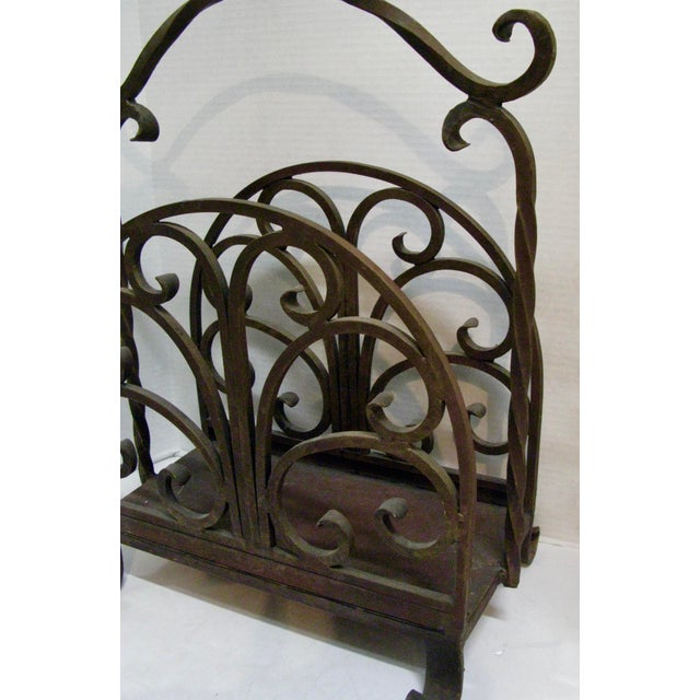 Brown Old Heavy Cast Iron Log/Magazine Rack For Sale - Image 8 of 9