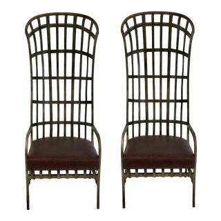 Industrial Modern Global Views Iron and Leather Cascade Cage Chairs Pair For Sale