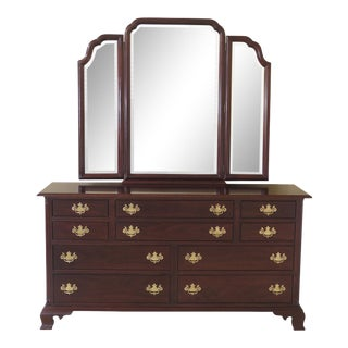 Stickley Chippendale Style Cherry Dresser With Tri Fold Mirror For Sale
