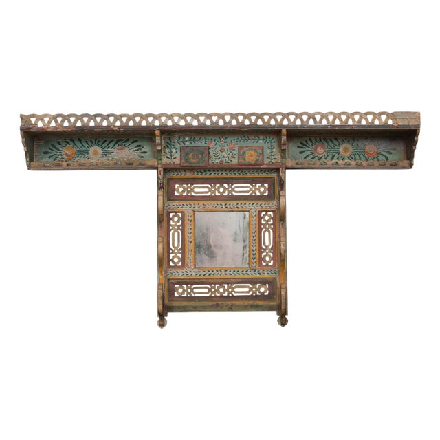 Austrian Early 19th Century Hand-Painted Pine Wall Mounted Coat Rack For Sale