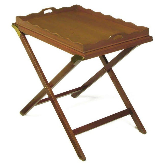 Mid-Century Modern Baker Serving Table with Removable Tray and Butterfly Top For Sale - Image 3 of 9