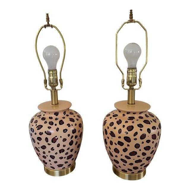 Vintage Leopard Painted Table Lamps - a Pair For Sale