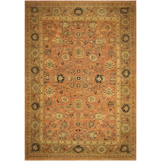 Kafkaz Sun-Faded Inge Rose/Lt. Brown Hand-Knotted Rug - 13'5 X 19'0