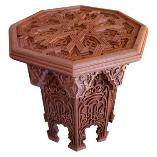 Moroccan Octagonal Wooden Side Table For Sale