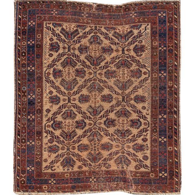 Antique Square Persian Afshar Handmande Wool Rug For Sale