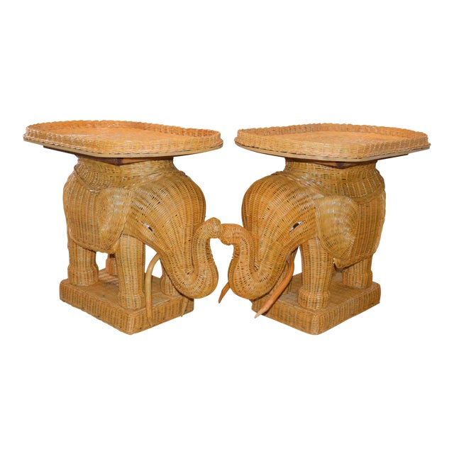 Boho Chic Wicker Rattan Elephant Tray Tables - a Pair For Sale