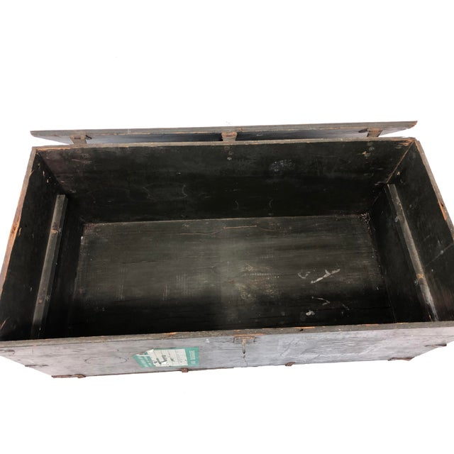 1950s Vintage Industrial Wood Military Foot Locker With Tray For Sale - Image 5 of 13