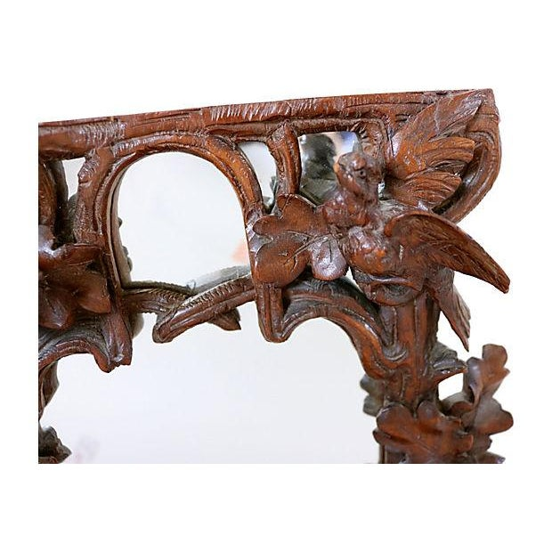 Antique Hand-Carved Black Forest Bureau Mirror - Image 3 of 7