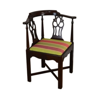 Chippendale Style Custom Mahogany Corner Chair For Sale