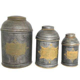 Vintage Italian Tin Containers Jars Tea Box Shaped- Set of 3 For Sale