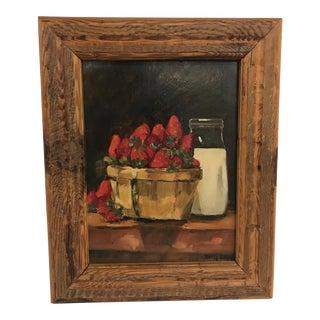Vintage Strawberries & Milk Oil Painting on Wood For Sale