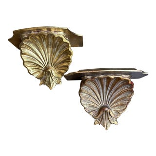 Vintage Italian Giltwood Shell Motif Wall Brackets - a Pair For Sale