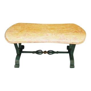 French Art Deco Iron and Marble Coffee Table