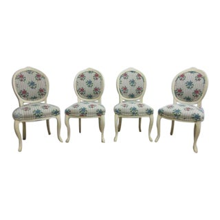 Vintage French Louis XV Carved Painted Century Dining Room Side Chairs - Set of 4