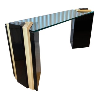 1980s Postmodern Lacquered Pedestal and Glass Console Table For Sale