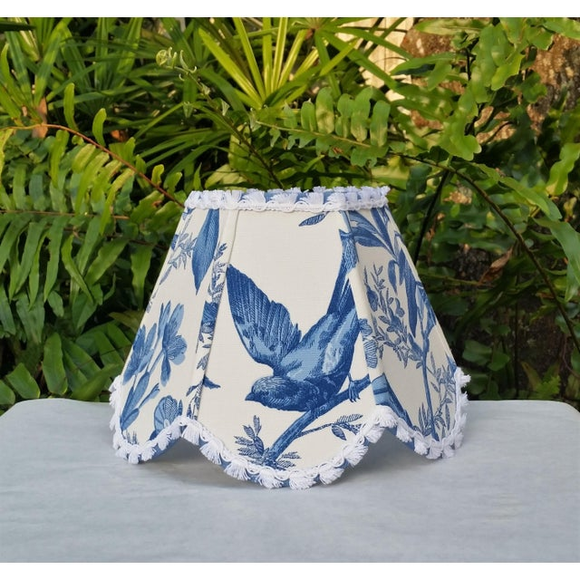 Blue White Toile Floral Clip On Lamp Shade For Sale - Image 11 of 11