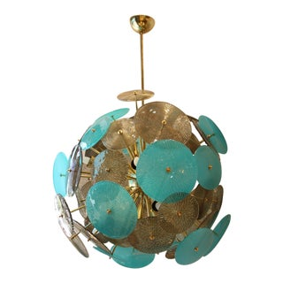Turquoise and Gold Sputnik Chandelier With Murano Glass Disks For Sale