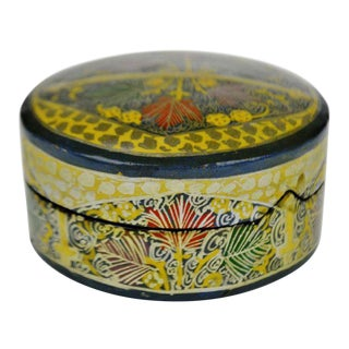 Vintage Hand Painted Lacquerware Box With Lid Made in India For Sale