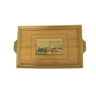 Vintage Equestrian Horse Decorative Wooden Tray with Handles