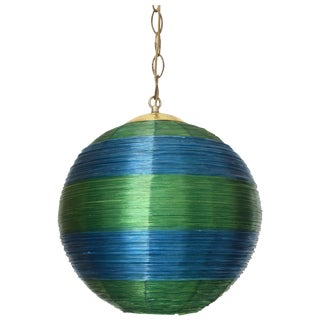 Mid-Century Fiberglass Green & Blue Hanging Ball Lamp For Sale