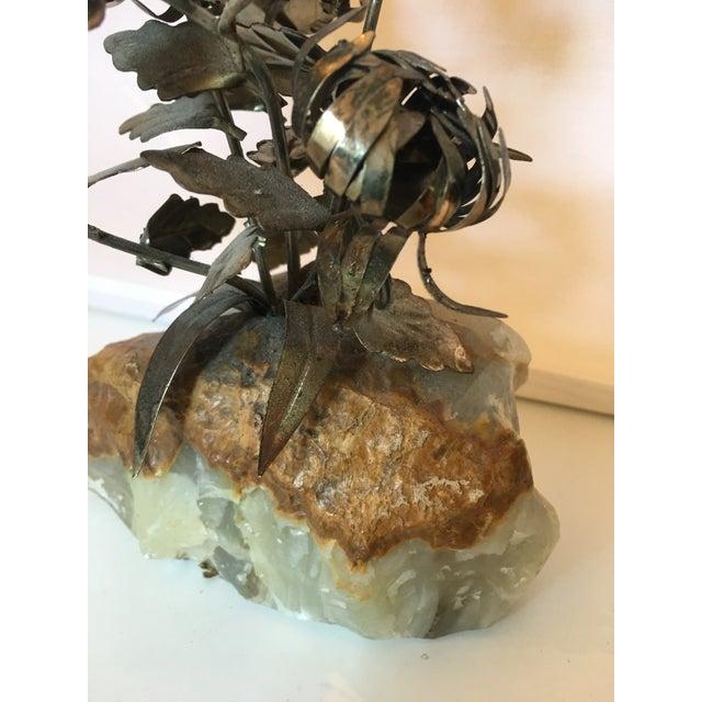 Brass & Quartz Flower Model For Sale - Image 4 of 4