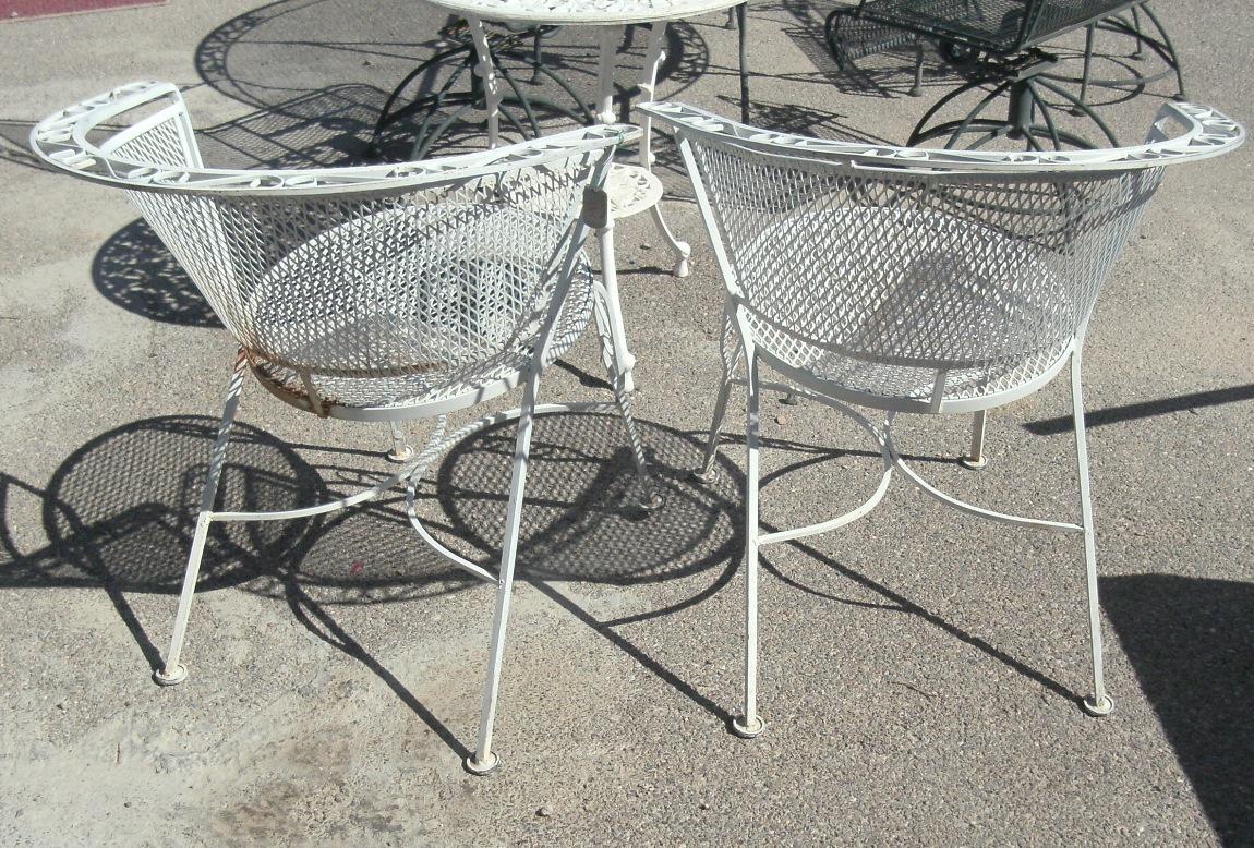 vintage salterini style white metal patio chairs a pair chairish rh chairish com Salterini Patio Chairs Vintage Salterini Patio Set