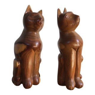 Vintage Hand Carved Wooden Cat Large Figurines (A Pair) For Sale