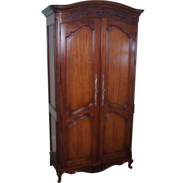 french louis xv style fruitwood armoire chairish. Black Bedroom Furniture Sets. Home Design Ideas
