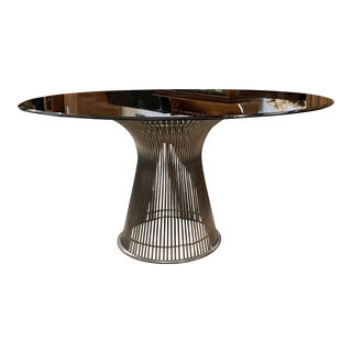 Knoll Warren Platner Nickel Finish + Smoked Glass Dining Table For Sale