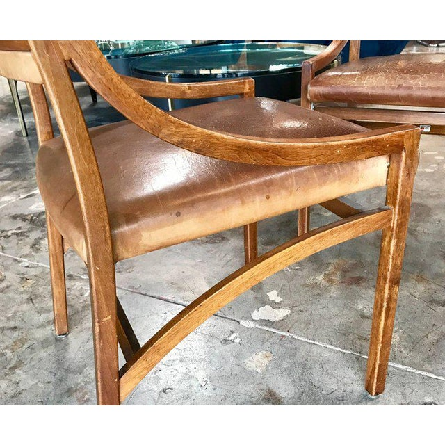 Brown Ico Parisi Mod 110, Italian Walnut and Leather Dining Chairs 1959 For Sale - Image 8 of 9