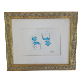 Original Greek Key Framed French Provincial Side Chairs Painting Signed
