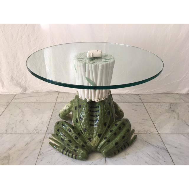 Italian Ceramic Glass Top Frog Table For Sale In Chicago - Image 6 of 7