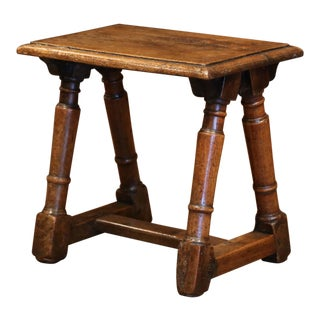 18th Century French Louis XIII Carved Oak Stool For Sale