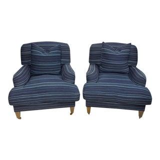 Ralph Lauren Home Oversized Indigo Stripe Arm Chairs - a Pair For Sale