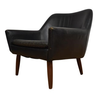 Danish Black Leather & Teak Lounge Chair For Sale