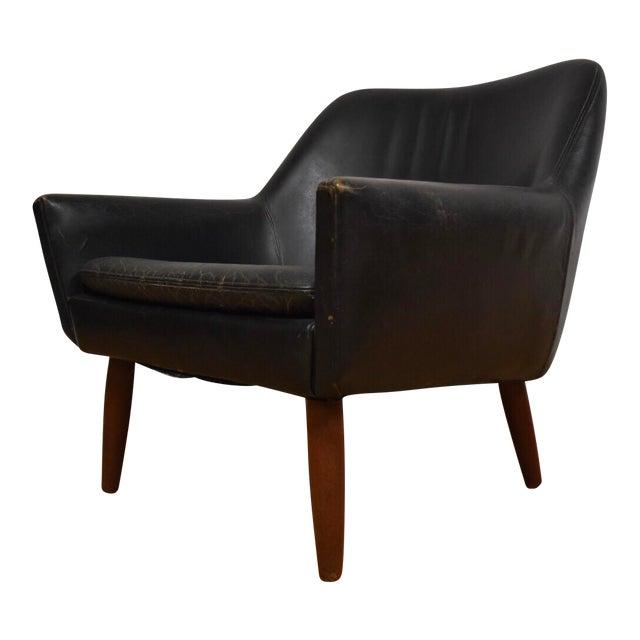 Danish Black Leather & Teak Lounge Chair For Sale