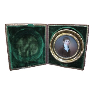 18th Century Miniature Portrait of Young Man Boy in Green Velvet Case For Sale