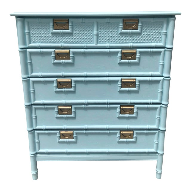 Faux Bamboo Five Drawer Chest of Drawers For Sale