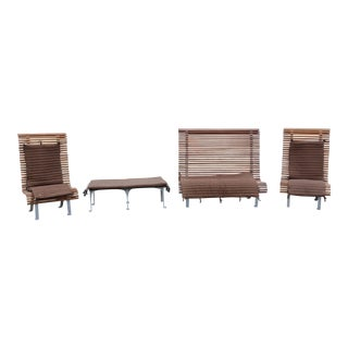 Contemporary Dacheville Nicol France Teak Patio Set Pair Chairs Settee & Bench - Set of 4 For Sale