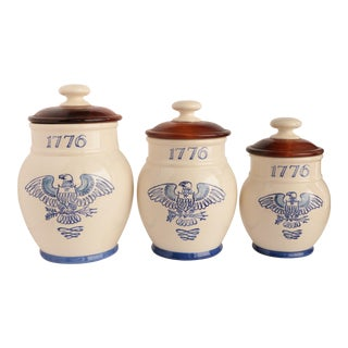 1776 Blue & White Colonial Canisters - Set of 3 For Sale