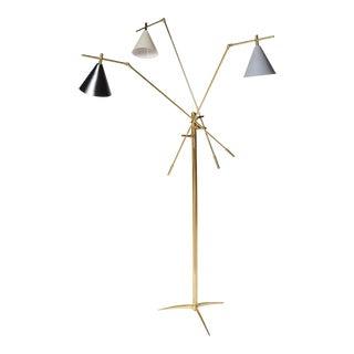 1960s Mid Century Modern Articulating Three Cone Italian Floor Lamp For Sale