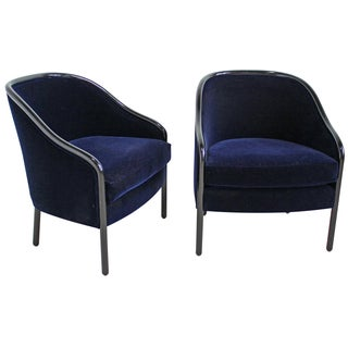 Ward Bennett for Brickell Velvet Chairs - A Pair For Sale
