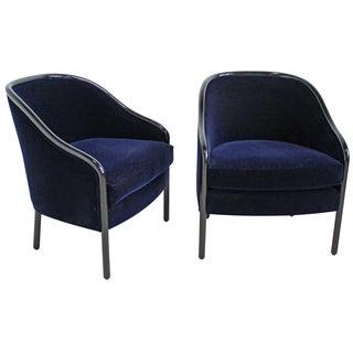 Ward Bennett for Brickell Velvet Chairs - A Pair