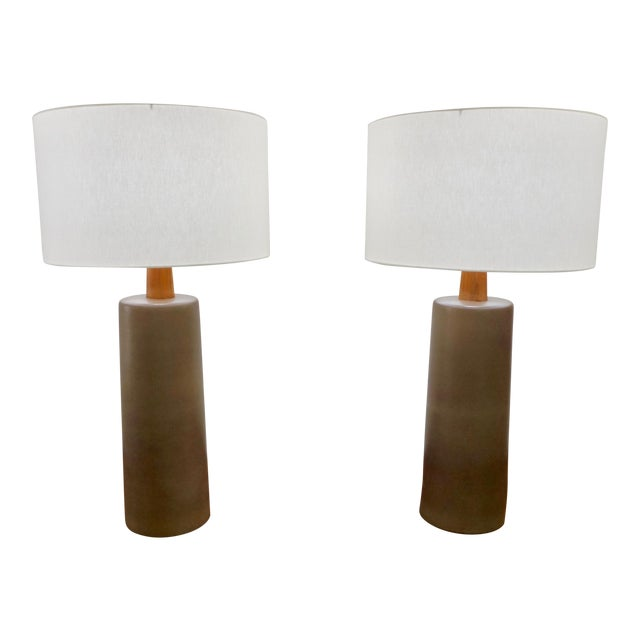 Tall Olive Green Ceramic Table Lamps by Gordon Martz - a Pair For Sale