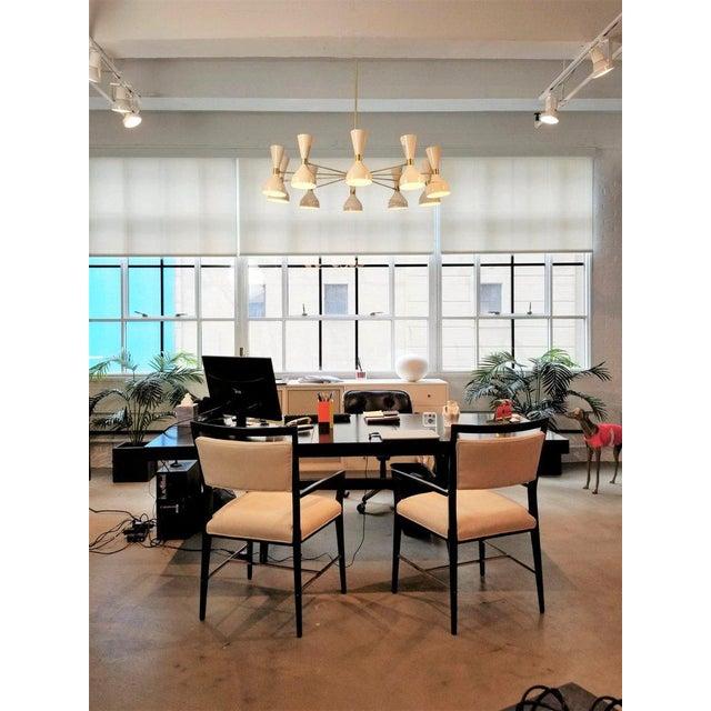 """Blueprint Lighting Blueprint Lighting Modern """"Ludo"""" White Enamel & Brass Chandelier For Sale - Image 4 of 5"""