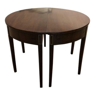 Pair of Vintage Demilune Wood Consoles/Round Table For Sale
