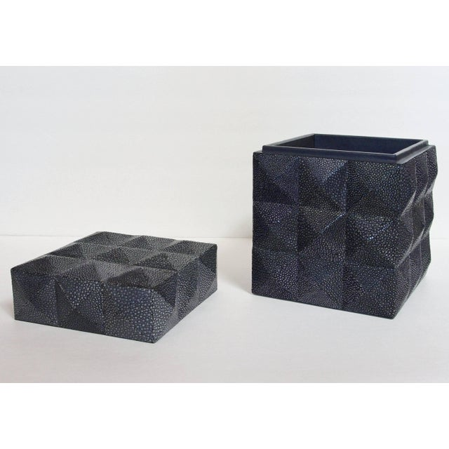 Early 21st Century Pyramid Black Shagreen Box by Fabio Ltd For Sale - Image 5 of 8