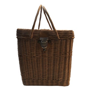 Vintage Picnic Wicker Basket With Leather Closure For Sale