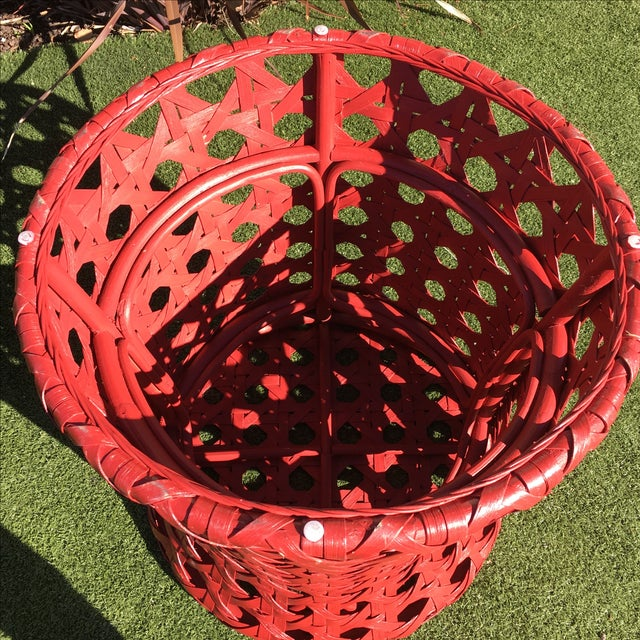 Palecek Woven Red Side Table - Image 7 of 8