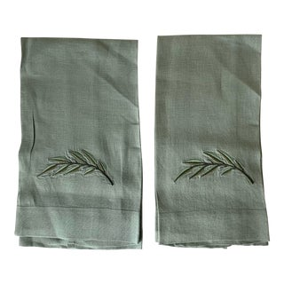 Pair of Sage Green Embroidered Linen Hand Towels For Sale